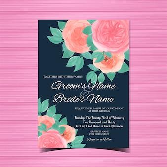 Carte d'invitation de mariage aquarelle avec de magnifiques roses roses