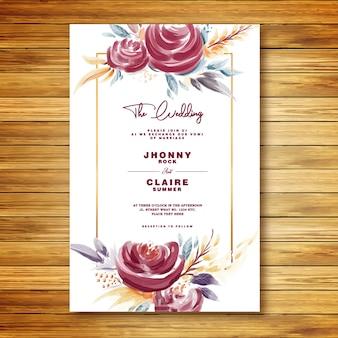 Carte d'invitation de mariage aquarelle de roses