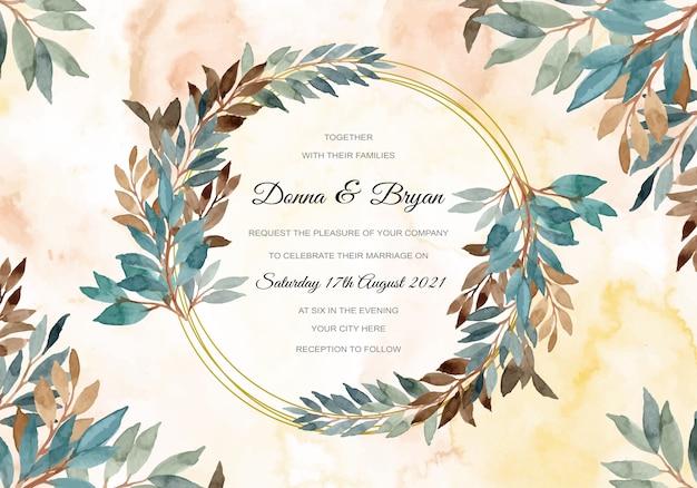 Carte d'invitation de mariage avec aquarelle verte laisse abstrait couronne