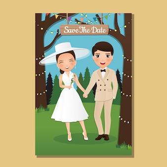 Carte d'invitation de mariage la bande dessinée de couple mignon mariés avec paysage