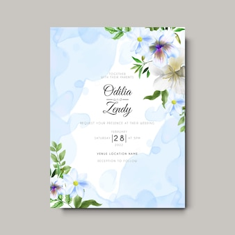Carte d'invitation de mariage avec beau fond floral et abstrait