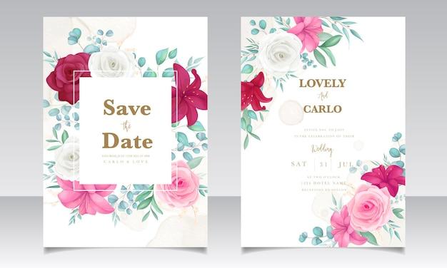 Carte d'invitation de mariage avec un beau lys en fleurs et une fleur rose