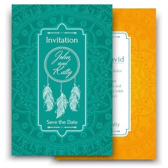 Carte d'invitation de mariage avec beau mandala ethnique avec un motif tribal floral.