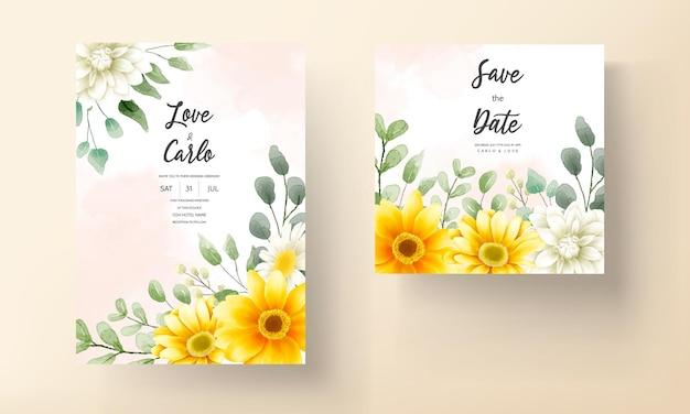 Carte d'invitation de mariage avec un beau modèle de fleur de marguerite en fleurs
