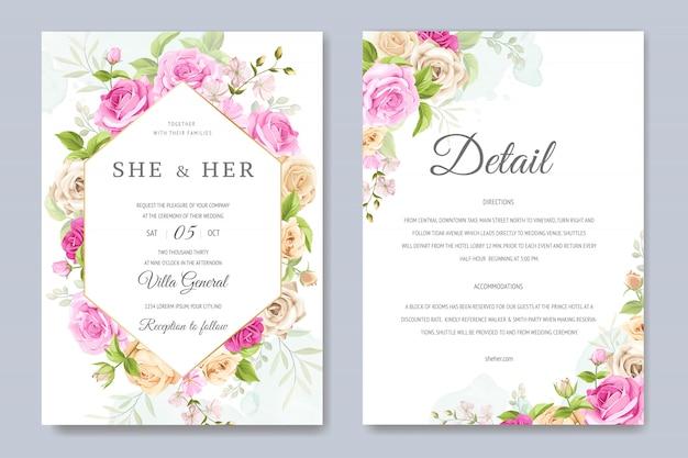 Carte d'invitation de mariage avec beau modèle floral et feuilles