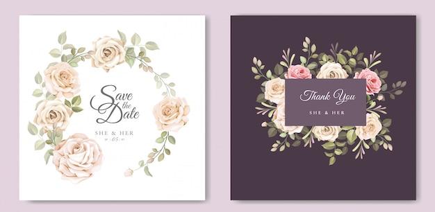 Carte d'invitation de mariage avec beau modèle floral