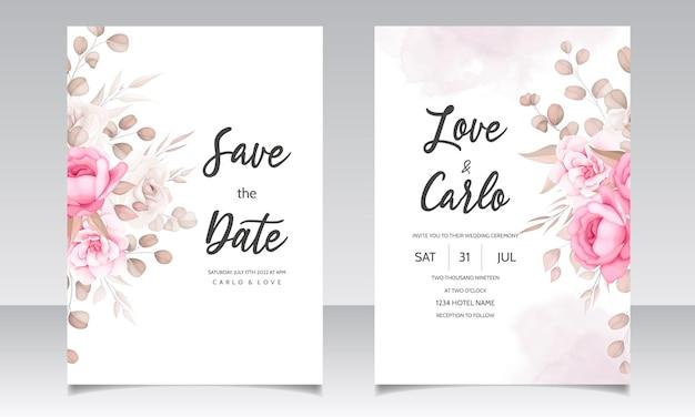 Carte d'invitation de mariage avec de beaux ornements de fleurs