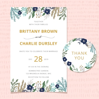 Carte d'invitation de mariage avec belle bordure florale