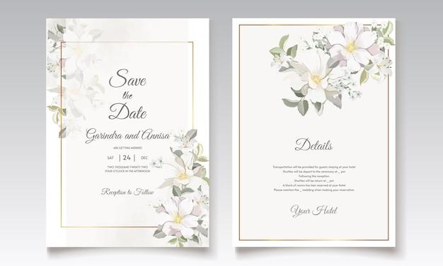 Carte d'invitation de mariage avec belle fleur blanche et feuilles