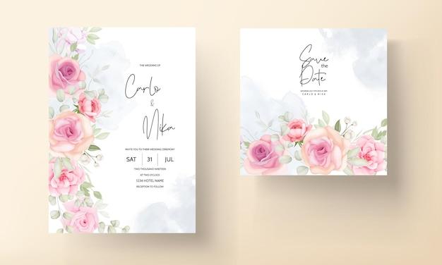 Carte d'invitation de mariage belle fleur douce