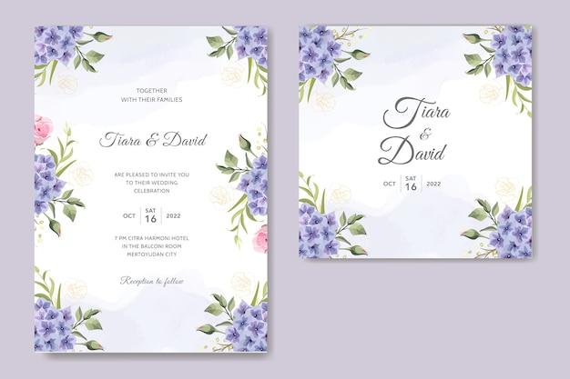 Carte d'invitation de mariage avec belle fleur d'hortensia