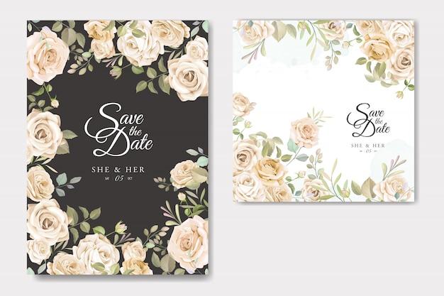 Carte d'invitation de mariage avec belle floral et feuilles