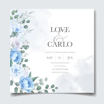 Carte d'invitation de mariage avec belle main dessiner floral