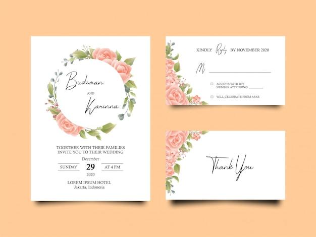 Carte d'invitation de mariage avec de belles feuilles de fleurs