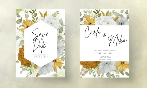 Carte d'invitation de mariage avec de belles fleurs d'automne