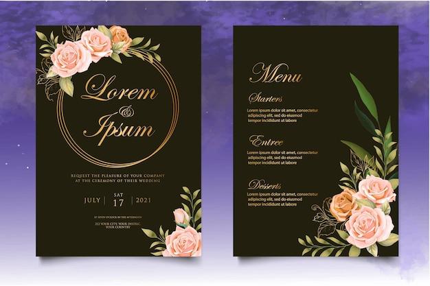 Carte d'invitation de mariage avec de belles fleurs et feuilles