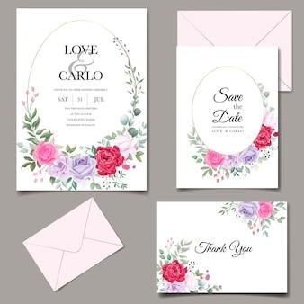 Carte d'invitation de mariage avec de belles fleurs florales
