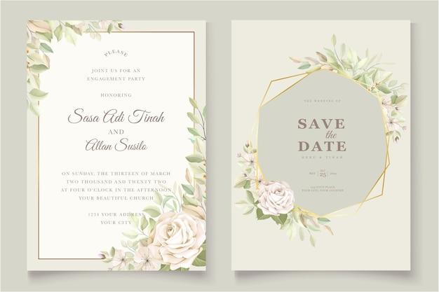 Carte d'invitation de mariage avec de belles roses