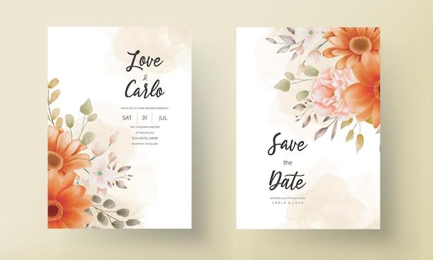 Carte d'invitation de mariage boho floral marron