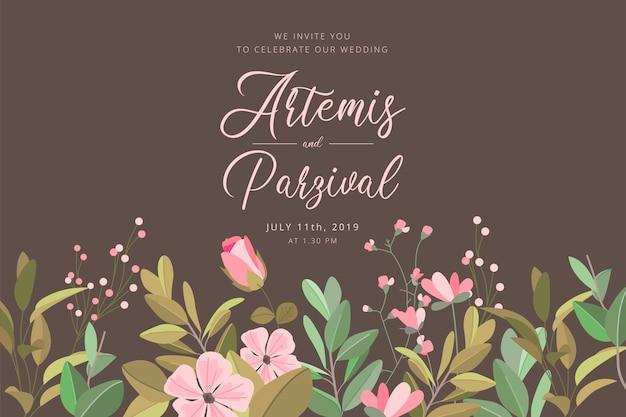 Carte d'invitation de mariage avec bordure florale