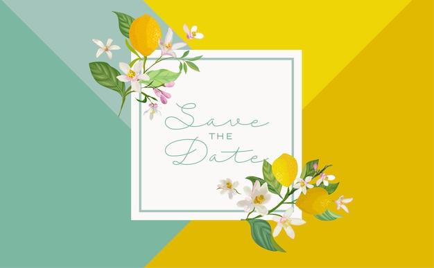 Carte d'invitation de mariage botanique, vintage save the date, modèle de conception de fleurs et de feuilles de fruits de citrons, illustration de fleur. couverture tendance de vecteur, affiche graphique, brochure