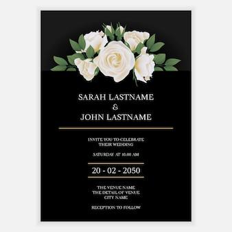 Carte d'invitation de mariage avec bouquet de fleurs de rose blanche
