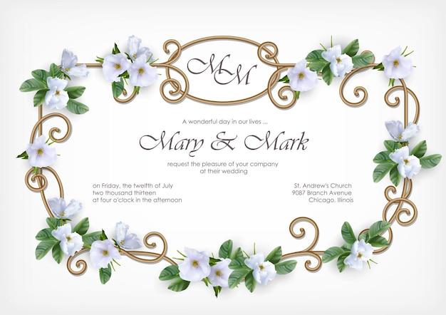 Carte d'invitation de mariage avec cadre doré décoratif et fleurs blanches