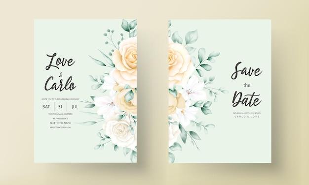 Carte d'invitation de mariage cadre floral aquarelle dessinés à la main