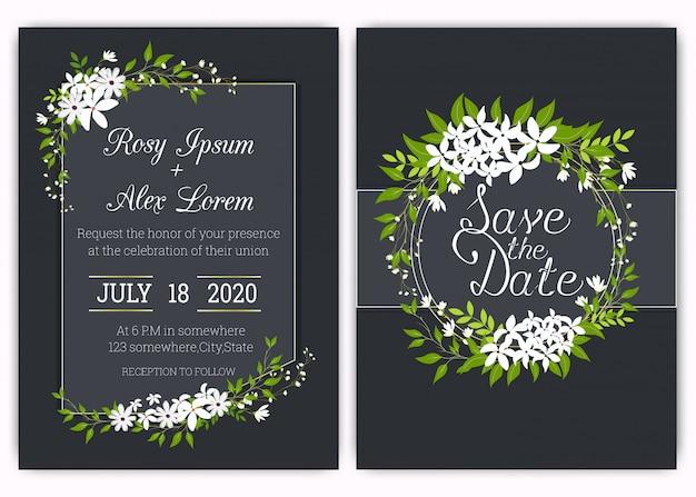 Carte d'invitation de mariage cadre floral dessiné à la main