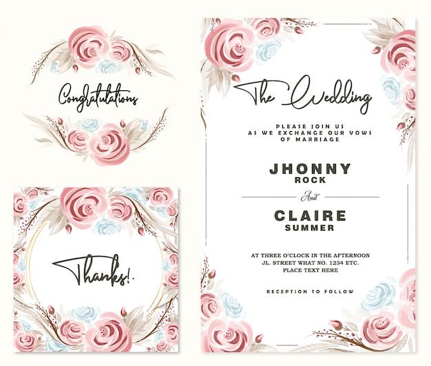 Carte d'invitation de mariage et cadre de roses aquarelle