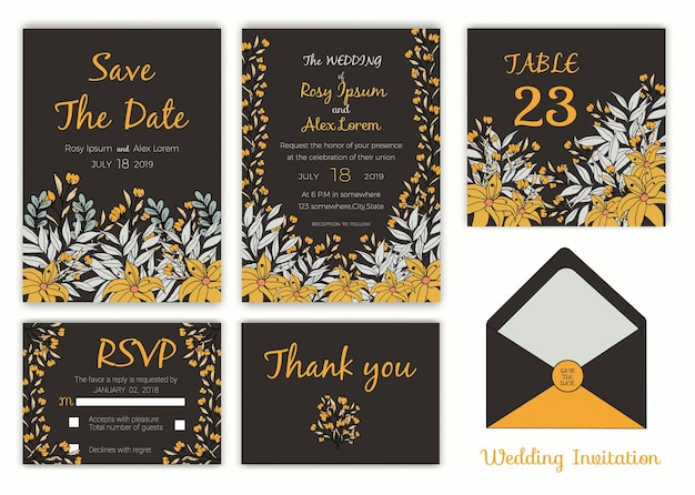 Carte d'invitation de mariage, carte d'étiquettes de cadeau