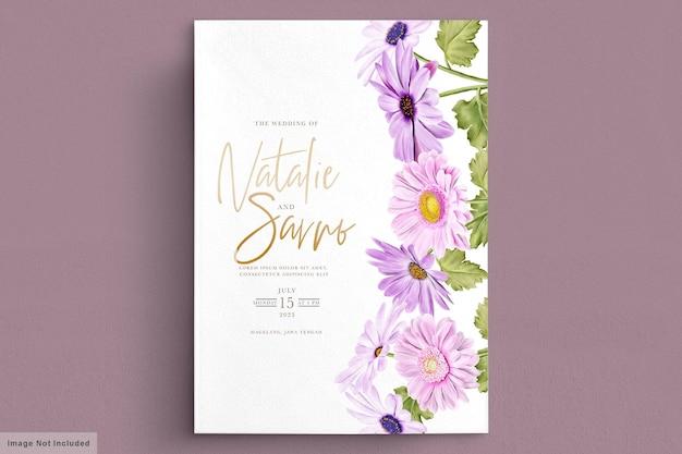 Carte d'invitation de mariage chrysanthème aquarelle