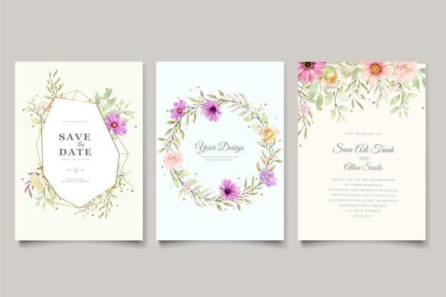 Carte d'invitation de mariage de chrysanthème d'aquarelle