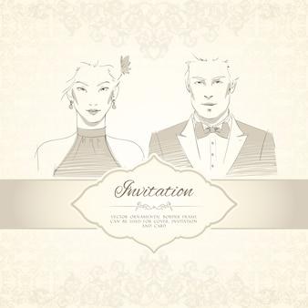 Carte d'invitation de mariage classique avec illustration d'homme et de portraits de femme