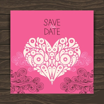 Carte d'invitation de mariage avec coeur élégant décoratif