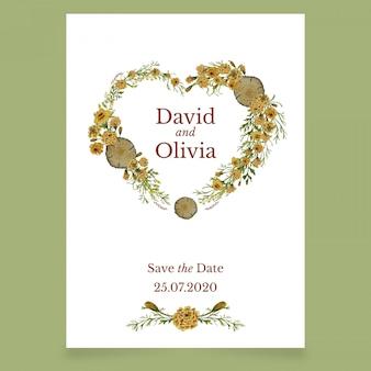 Carte d'invitation de mariage avec coeur de fleurs jaunes
