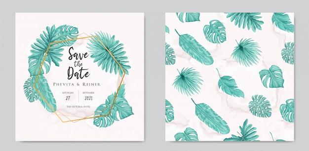 Carte d'invitation de mariage avec collection de jeu de modèle sans couture de feuilles tropicales