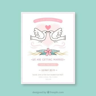 Carte d'invitation de mariage avec des colombes