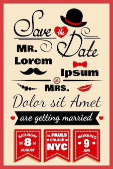 Carte d'invitation de mariage dans un style hipster