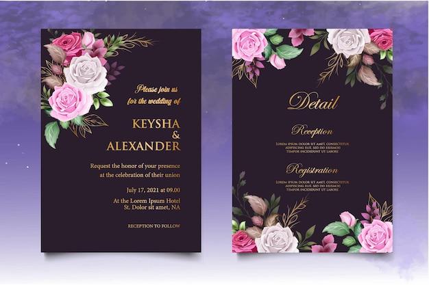 Carte d'invitation de mariage avec décoration florale dessinée à la main