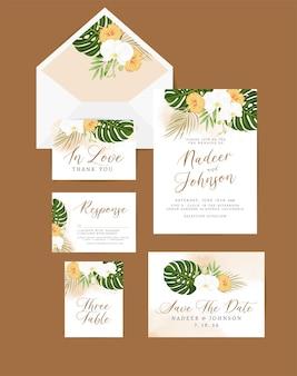 Carte d'invitation de mariage avec décoration florale et feuilles