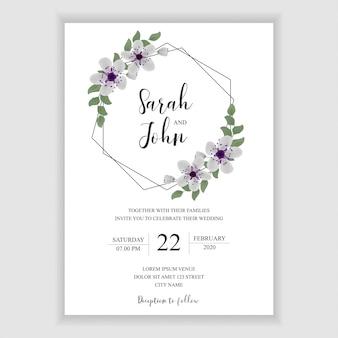 Carte d'invitation de mariage avec décoration florale hexagonale