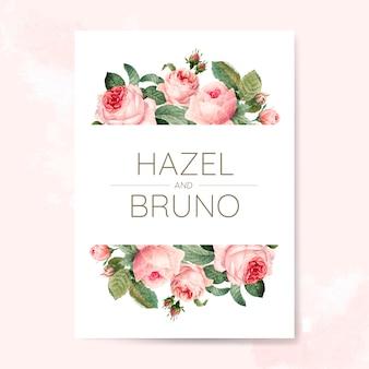 Carte d'invitation de mariage décorée de roses
