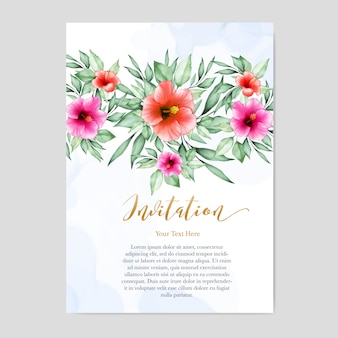 Carte d'invitation de mariage design floral