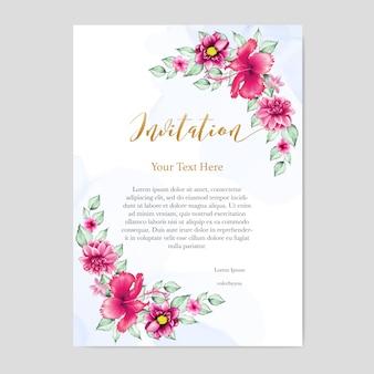 Carte d'invitation de mariage design floral