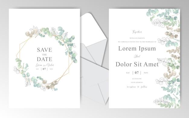 Carte d'invitation de mariage dessinée à la main élégante avec des feuilles