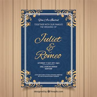 Carte d'invitation de mariage avec différents ornements