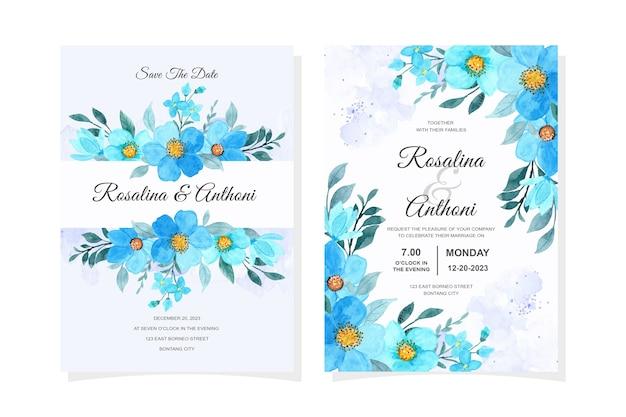 Carte d'invitation de mariage elegan avec aquarelle florale bleue