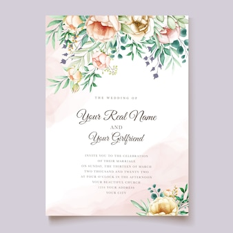 Carte d'invitation de mariage élégant avec beau floral