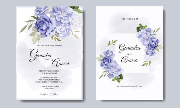 Carte d'invitation de mariage élégant avec beau modèle floral et feuilles